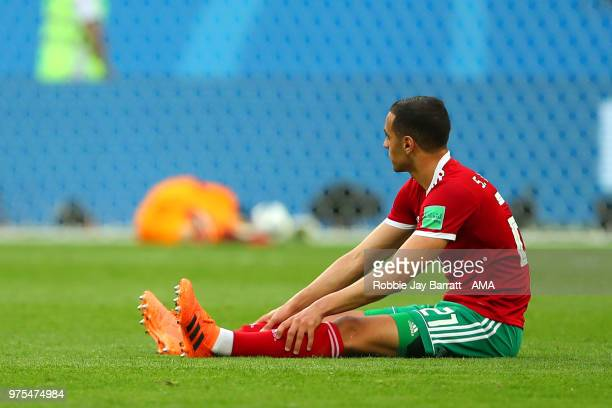 Sofyan Amrabat of Morocco looks dejected at the end of the 2018 FIFA World Cup Russia group B match between Morocco and Iran at Saint Petersburg...