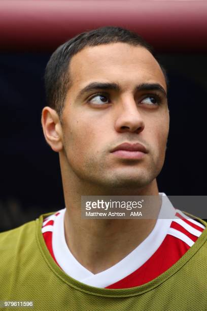 Sofyan Amrabat of Morocco looks on from the bench prior to the 2018 FIFA World Cup Russia group B match between Portugal and Morocco at Luzhniki...