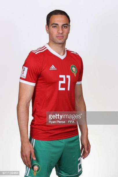 Sofyan Amrabat of Morocco poses during the official FIFA World Cup 2018 portrait session on June 10 2018 in Voronezh Russia