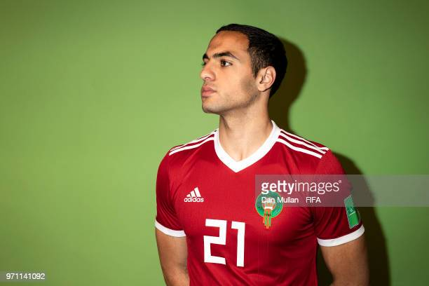 Sofyan Amrabat of Morocco poses for a portrait during the official FIFA World Cup 2018 portrait session at on June 10 2018 in Voronezh Russia