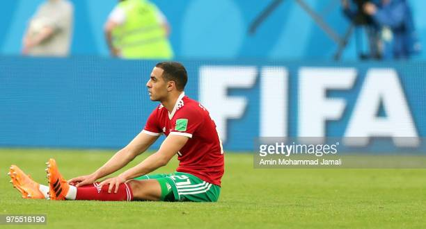 Sofyan Amrabat of Morocco react after the match during the 2018 FIFA World Cup Russia group B match between Morocco and Iran at Saint Petersburg...