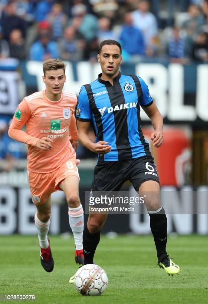 Sofyan Amrabat pictured in action during the Jupiler Pro League match day 5 between Club Brugge and Rsc Anderlecht on August 26 2018 in Brugge Belgium