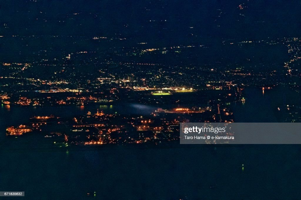 Soga area in Chiba city night aerial view from airplane : ストックフォト