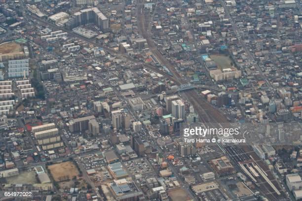 jr soga station in chiba city, aerial view from airplane - chiba city fotografías e imágenes de stock