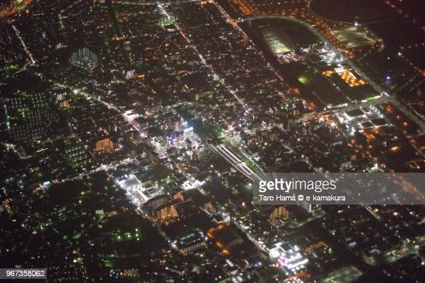jr soga station in chiba city in japan night time aerial view from airplane - chiba city fotografías e imágenes de stock