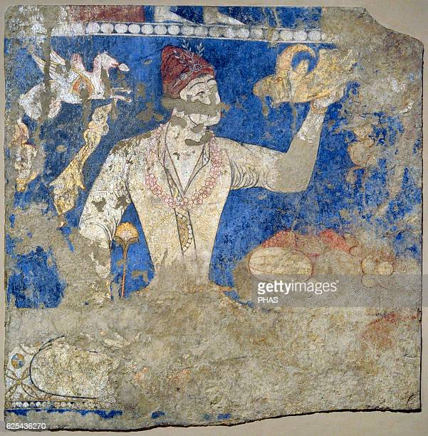 Sogdia PreIslamic Central Asia Mural Feasting ones 'Artists' Wall painting Glue colour on dry loess plaster First half of the 8th C Penjikent...