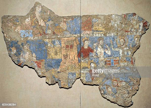 Sogdia PreIslamic Central Asia Mural Gamblers Wall painting Glue colour on dry loess plaster First half of the 8th C Penjikent Tajikistan Sector XXIV...