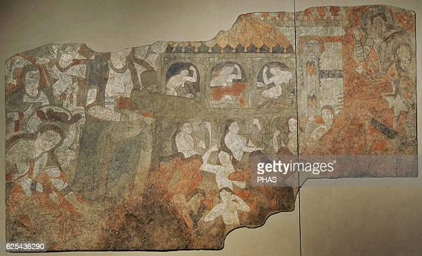 Sogdia PreIslamic Central Asia Mural Lamentation Wall painting Glue colour on dry loess plaster 6th C Penjikent Temple II Main hall Southern wall...