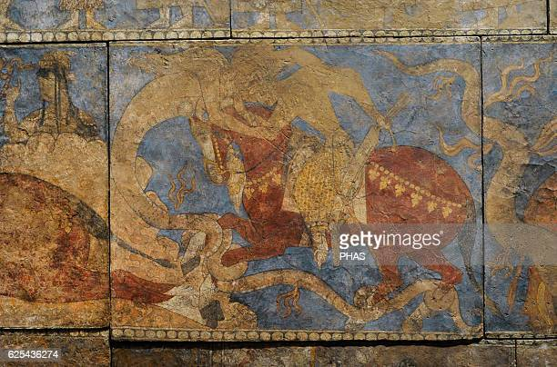 Sogdia PreIslamic Central Asia Mural Painting 'Rustemiada' Blue Hall Wall painting Detail Glue colour on dry loess plaster First half of the 8th C...