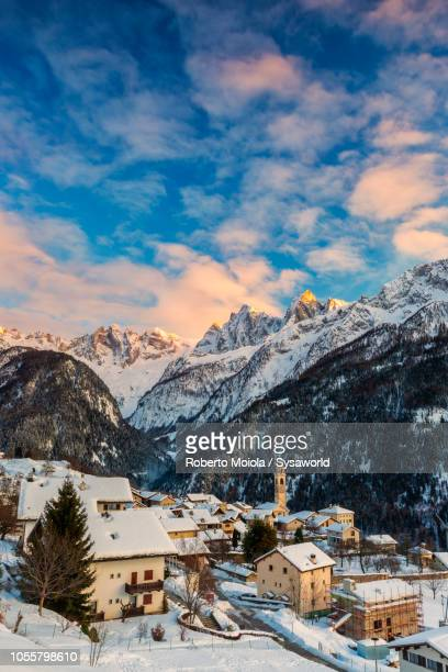 soglio covered with snow, bregaglia valley, switzerland - switzerland stock pictures, royalty-free photos & images