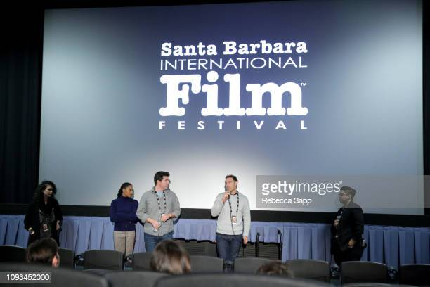 Sogol Rezvani Kelly McCreary Todd Sandler Nick Paonessa and Gabi Guillen speak onstage at the Live Action Shorts Presentation during the 34th Santa...