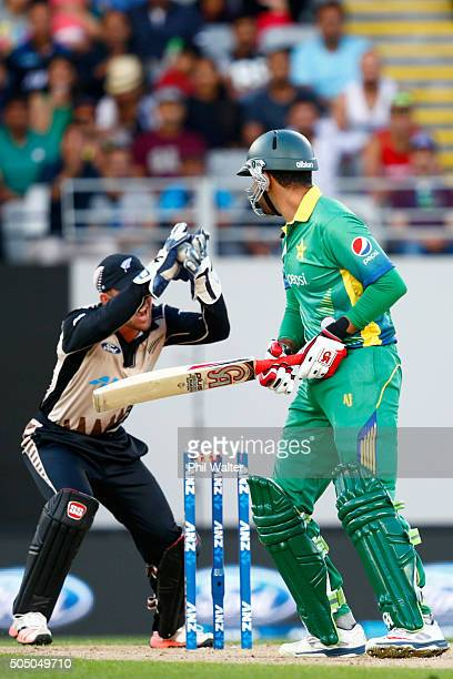Sohaib Maqsood of Pakistan is stumped by Luke Rohchi of New Zealand during the first T20 match at Eden Park on January 15 2016 in Auckland New Zealand