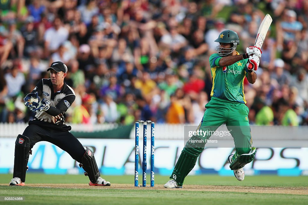 Sohaib Maqsood of Pakistan plays the ball away for four runs during the International Twenty20 match between New Zealand and Pakistan at Seddon Park on January 17, 2016 in Hamilton, New Zealand.