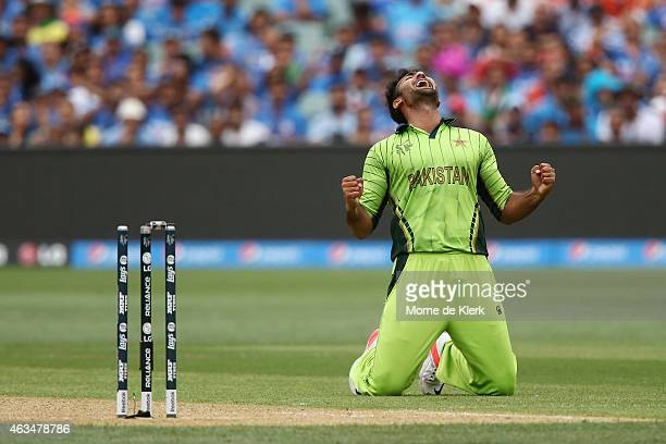 Sohail Khan of Pakistan celebrates after bowling out Ajinkya Rahane of India to claim his sixth wicket during the 2015 ICC Cricket World Cup match...