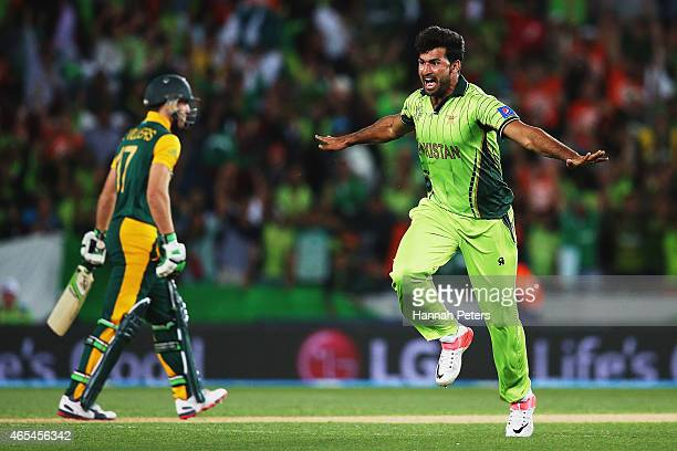 Sohail Khan of pakistan celebrates after dismissing AB de Villiers of South Africa during the 2015 ICC Cricket World Cup match between South Africa...