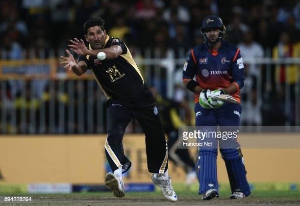 Sohail Tanvir of Kerela Kings fields the ball during the T10 League semifinal match between Kerela Kings and Maratha Arabians at Sharjah Cricket...