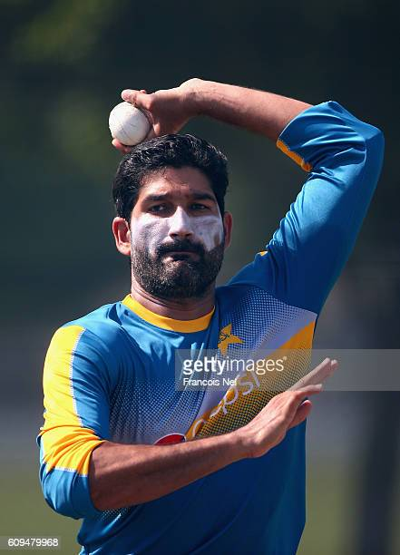 Sohail Tanvir of Pakistan bowls during a nets session at ICC Cricket Academy on September 21 2016 in Dubai United Arab Emirates