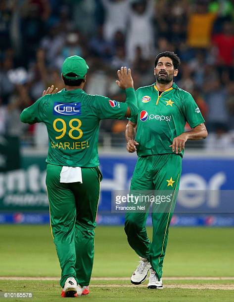 Sohail Tanvir of Pakistan celebrates after dismissing Evin Lewis of West Indies during the second T20 International match between Pakistan and West...