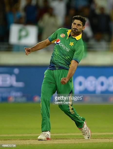 Sohail Tanvir of Pakistan celebrates dismissing Jason Roy of England during the 1st International T20 match between Pakistan and England at Dubai...