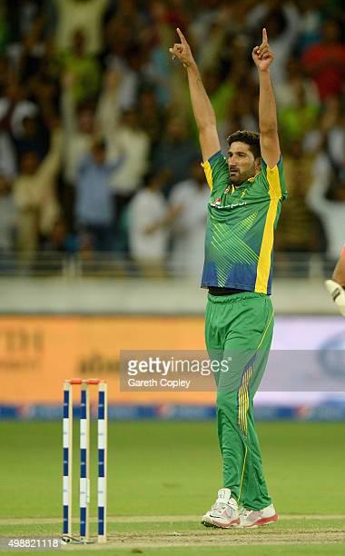 Sohail Tanvir of Pakistan celebrates dismissing Moeen Ali of England during the 1st International T20 match between Pakistan and England at Dubai...