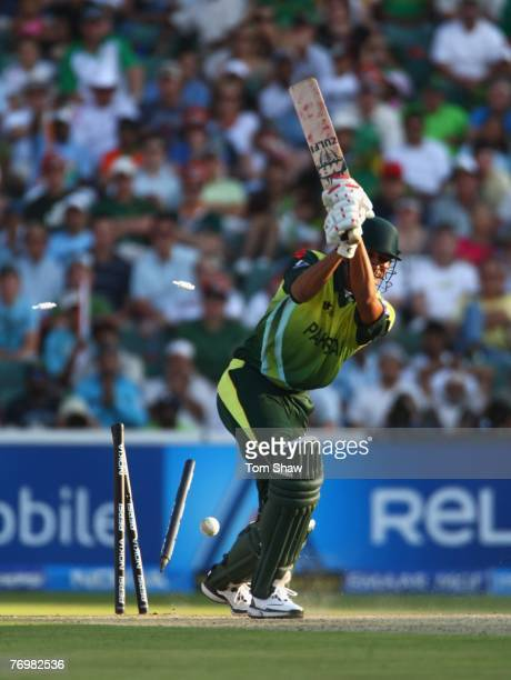 Sohail Tanvir of Pakistan is bowled out during the Twenty20 Championship Final match between Pakistan and India at The Wanderers Stadium on September...