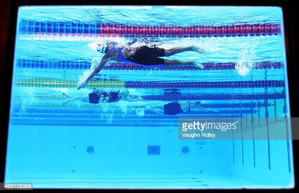 Sohair El Attar of Egypt competes in the Women's 800m Freestyle at Parc JeanDrapeau during the 15th FINA World Masters Championships on August 03...