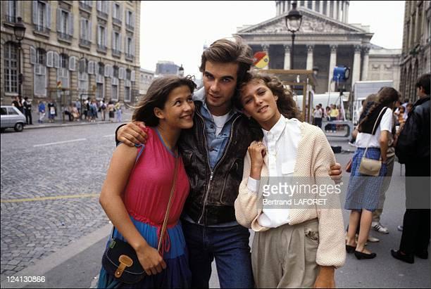 Sohie Marceau on the set of La Boum II in Paris France in July 1982 Sophie Marceau Pierre Cosso Nathalie Riquet