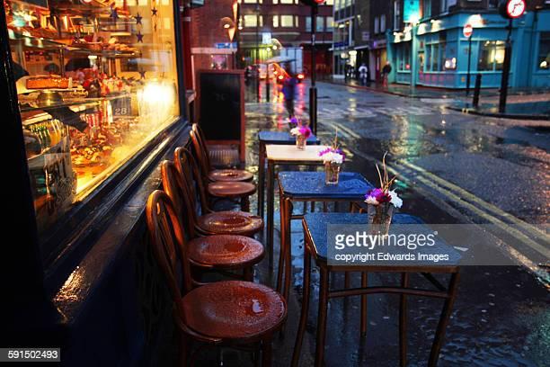 Soho cafe in the rain