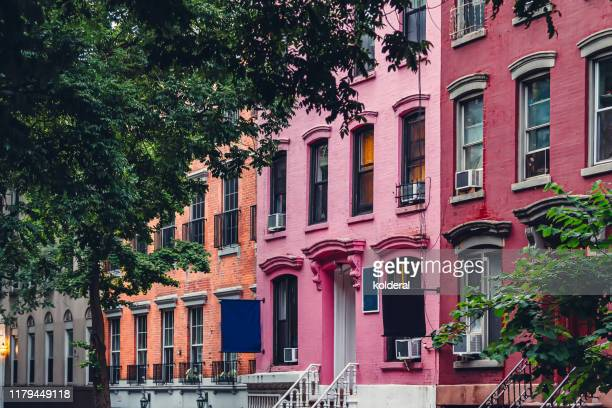 soho district, colorful residential buildings - タウンハウス ストックフォトと画像