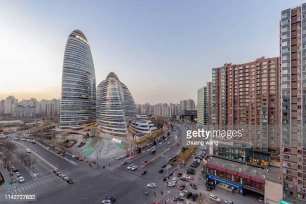 soho panorama of wangjing, beijing - zhongshan stock-fotos und bilder