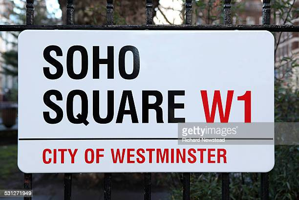 soho square - road sign stock pictures, royalty-free photos & images