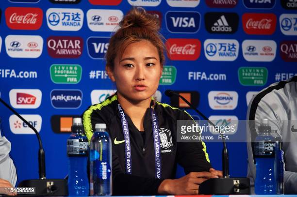 Sohyun Cho of Korea Republic faces the media during a press conference at Parc des Princes stadium on June 06, 2019 in Paris, France.