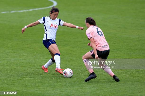 So-Hyun Cho of Tottenham Hotspur and Kasia Lipka of Sheffield United during the Vitality Women's FA Cup 5th Round match between Tottenham Hotspur...