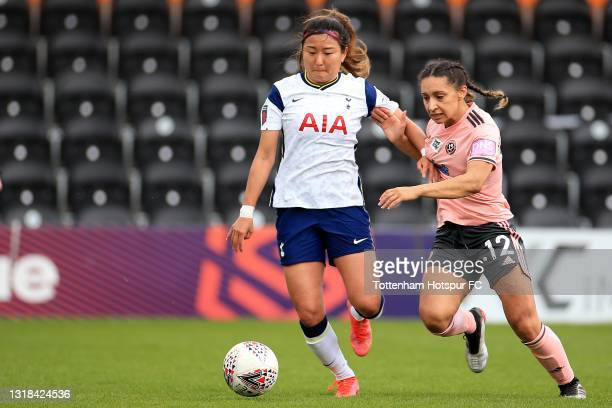 So-Hyun Cho of Tottenham Hotspur and Rhema Lord-Mears of Sheffield United during the Vitality Women's FA Cup 5th Round match between Tottenham...