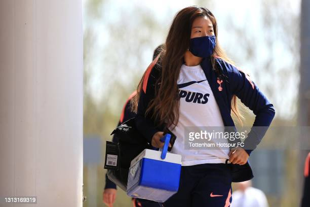 So-Hyun Cho of Tottenham Hotspur arrives during the Vitality Women's FA Cup Fourth Round match between Reading Women and Tottenham Hotspur Women at...