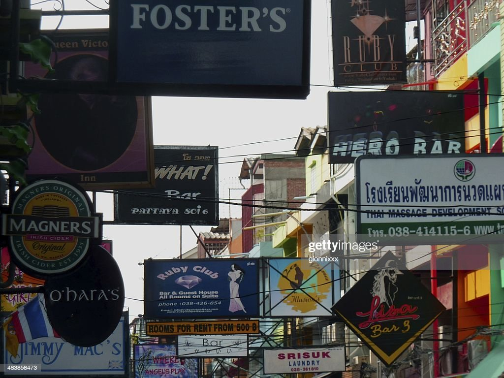 Soi 6 Bars Placards Pattaya Thailand Stock Photo - Getty Images