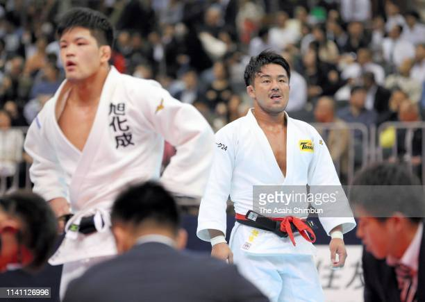Soichi Hashimoto reacts after his defeat by Shohei Ono in the Men's 73kg final during day two of the All Japan Judo Championships By Weight Category...