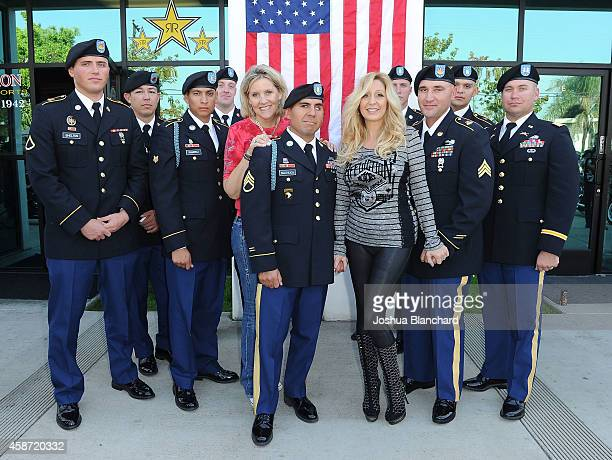 Soildiers from the National Training Center at Fort Irwin Annie Nelson and KO Coones attend the Sons Of Anarchy Star Rusty Coones Hosts Shoe Drive To...