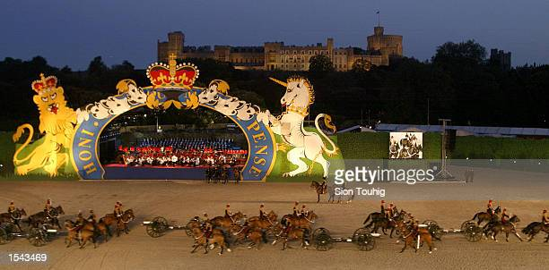 Soildiers of the Kings Troop Royal Horse Artillery parade May 18 2002 at the 'All The Queen's Horses' event at The Royal Windsor Horse Show at...