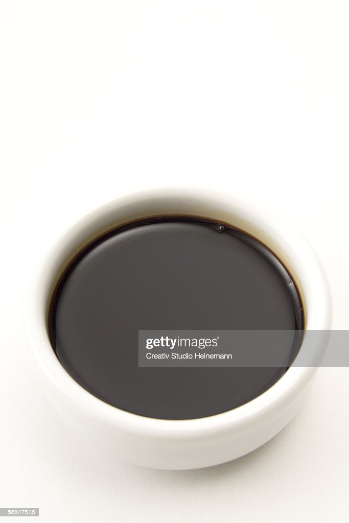 Soja sauce in bowl, elevated view : Stock Photo