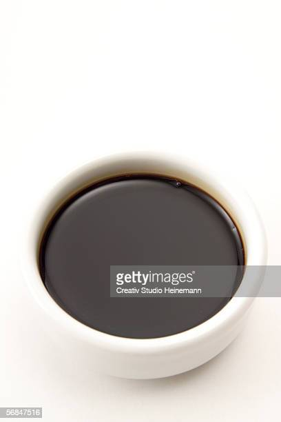 soja sauce in bowl, elevated view - soy sauce stock pictures, royalty-free photos & images
