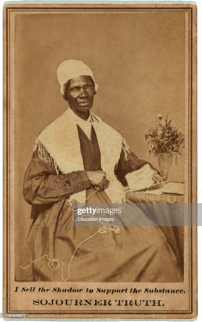 Sojourner Truth, 1797-1883, Abolitionist and Womens Rights Activist, Seated Portrait, 1864 : News Photo