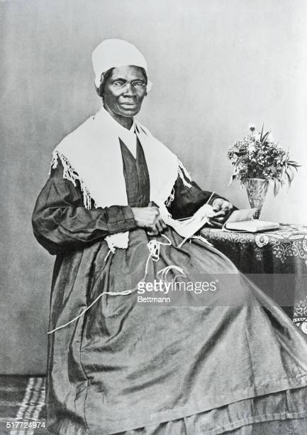 Sojourner Truth poses for a portrait while knitting at a small table Sojourner Truth whose legal name was Isabella Van Wagener was born into slavery...
