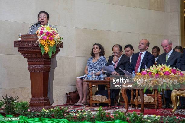 Sok An Deputy Prime Minister of Cambodia gives a speech during a ceremony to handover three statues back to Cambodia at the Council of Ministers on...