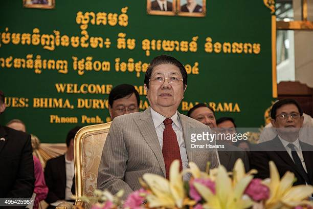 Sok An Deputy Prime Minister of Cambodia presides over a ceremony to handover three statues back to Cambodia at the Council of Ministers on June 3...