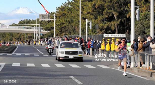 Soka University 8th runner Daisuke Nagai competes on day two of the 97th Hakone Ekiden on January 3, 2021 in Chigasaki, Kanagawa, Japan.