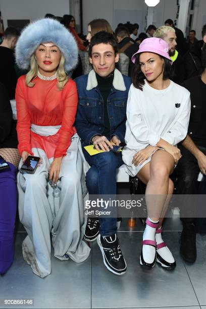 Soki Mak Kyle De'Volle and Sinead Harnett attend the Nicopanda FW18 LFW Show during London Fashion Week February 2018 at TopShop Show Space on...
