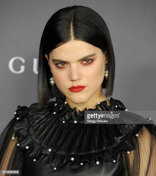 Soko arrives at the 2017 LACMA Art Film Gala honoring Mark Bradford and George Lucas at LACMA on November 4 2017 in Los Angeles California