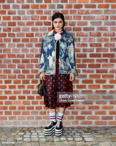 Soko arrives at the Gucciy show during Milan Fashion Week Fall/Winter 2017/18 on February 22 2017 in Milan Italy