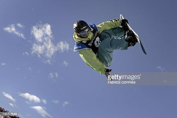 Soko Yamaoka of Japan rides on his way to collect the silver in the women's Half Pipe final at the FIS Snowboard World championships in Arosa 20...